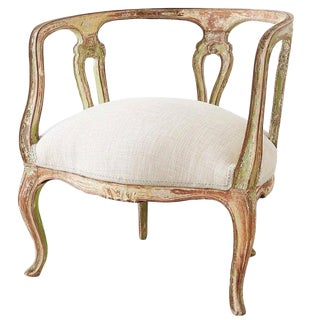 19th Century Venetian Rococo Style Round Salon Armchair For Sale