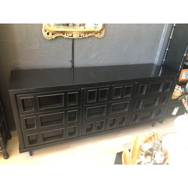 Mid-Century Black Nine Drawer Dresser For Sale - Image 9 of 13