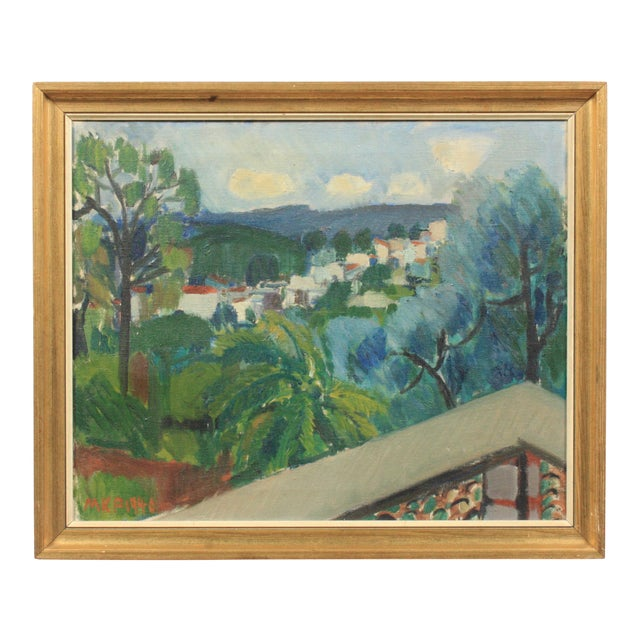 1940 Terrace View of a Mediterranean Village For Sale