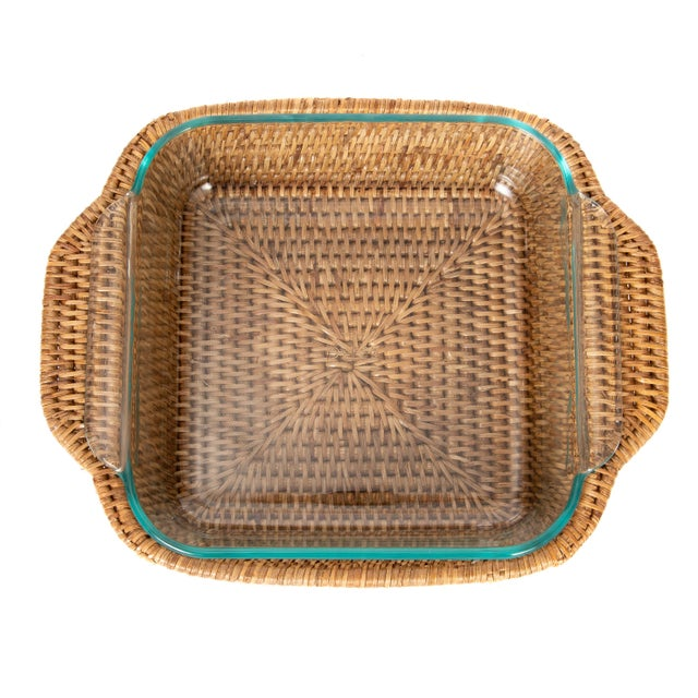 Artifacts Rattan Square Pyrex Holder For Sale In Houston - Image 6 of 6