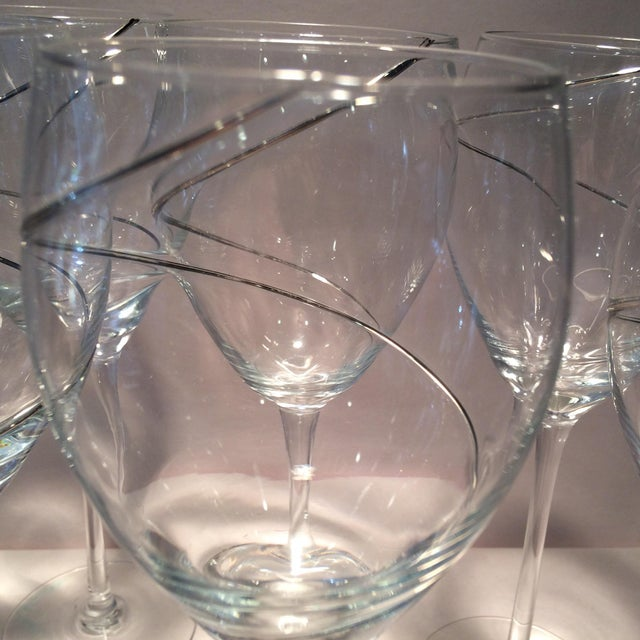 Vintage Silver Swirl Crystal Glasses - Set of 6 For Sale - Image 9 of 11