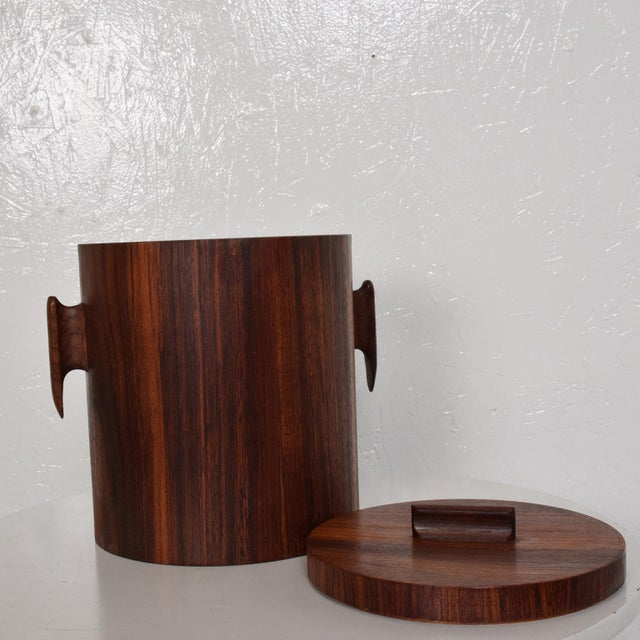 Red Mid-Century Modern Rosewood Ice Bucket For Sale - Image 8 of 11