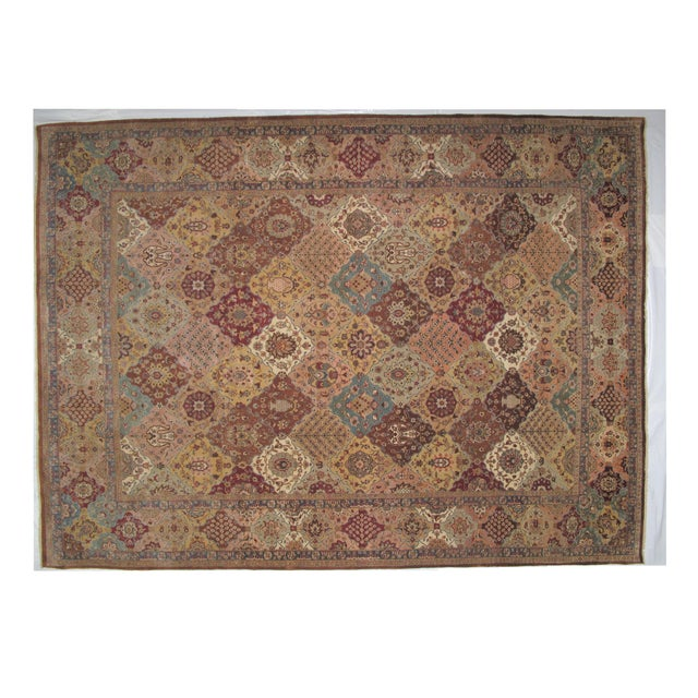 Wool pile very fine hand woven vegetable dye Agra carpet in excellent condition. In brown color, this rug will be the...