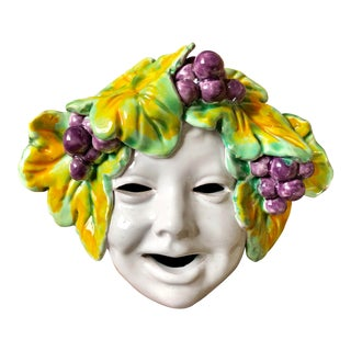 Vintage Italian Pottery Bacchus Wall Mask For Sale