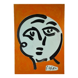 Abstract Portrait Face Painting by Peter Keil For Sale