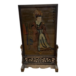 Early 20th-Century Chinese Reverse Painting Glass + Stand For Sale