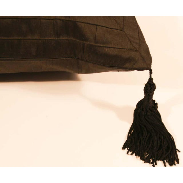 Metal Embroidered Black Silk Decorative Throw Pillow with Tassels For Sale - Image 7 of 11