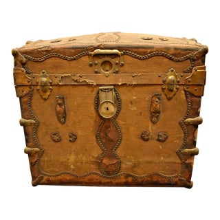 Antique Wood Canvas & Leather Metal Hinges Straps Trunk