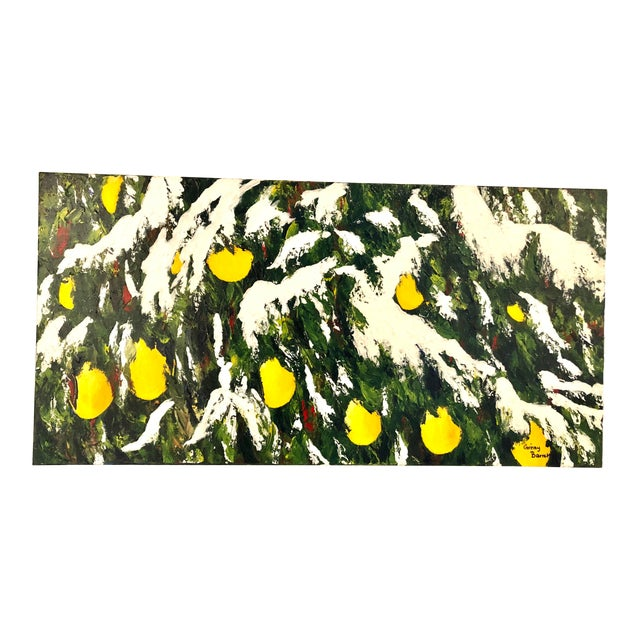Meyer Lemons in the Snow Acrylic on Stretched Canvas Signed by Artist Framed Green Yellow White For Sale