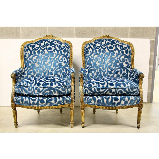 Antique French Giltwood Bergere Chairs, Pair For Sale - Image 10 of 10