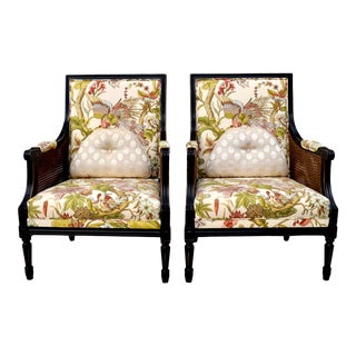 Bergere Double Caned Louis XVI Style Lounge Chairs by Pelecek, Pair For Sale