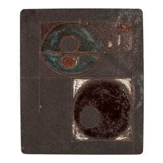 Sica Italian Mid Century Modern Abstract Pottery Tile From Bitossi Era For Sale