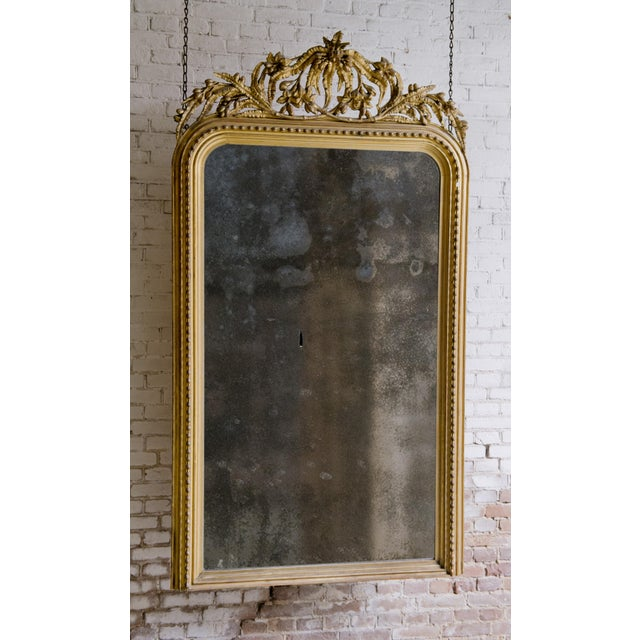 Glass Elaborate Decorated 19th Century Mirror For Sale - Image 7 of 8