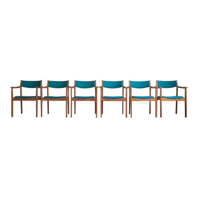 1960s Mid-Century Modern Teal Armchairs - Set of 6 For Sale