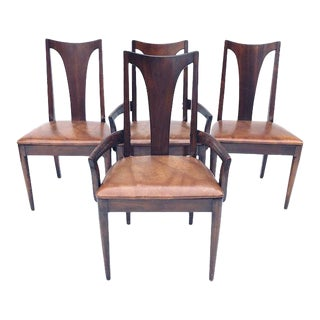 Midcentury Lenoir Broyhill Brasilia Walnut Dining Chairs S/4 For Sale
