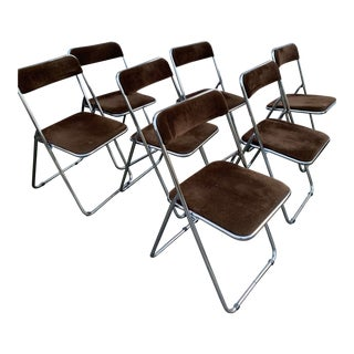 Pila Castelli Style Chrome Upholstered Folding Chairs - Set of 7 For Sale