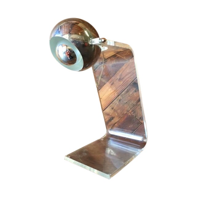 1970's Vintage Chrome and Lucite Table Lamp - Image 1 of 5