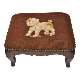 Antique Victorian Small Puppy Dog Needlepoint Petite Stool For Sale