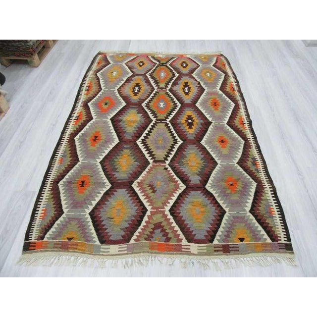 "Islamic Handwoven Vintage Decorative Colourful Turkish Kilim Area Rug - 5'3"" x 7'7"" For Sale - Image 3 of 6"