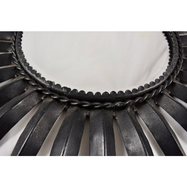 Black French Mid-Century Black Wrought Iron Tapered Ray Sunburst Wall Mirror For Sale - Image 8 of 13