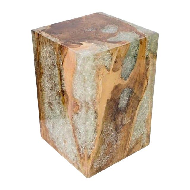 Organic Modern Side Table in Bleached Teak Wood and Resin For Sale
