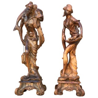 Vintage Chinoiserie Male and Female Statuary From Palm Springs Celebrity Estate For Sale