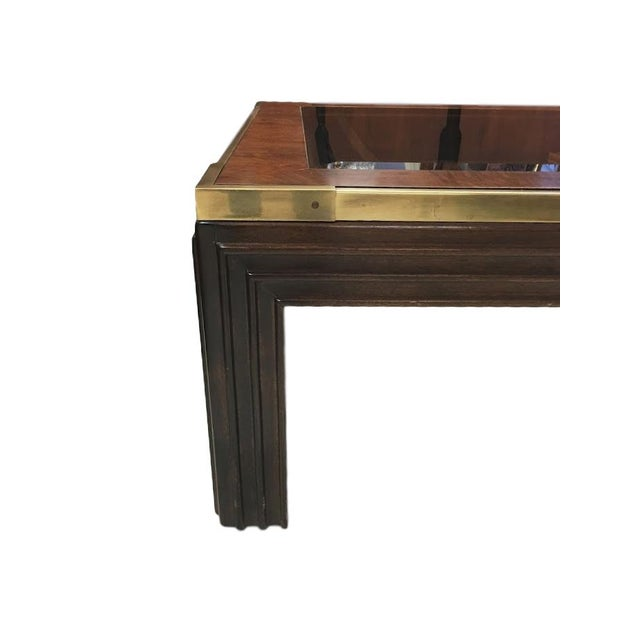 Brass, Wood and Smoked Glass Coffee Table - Image 2 of 4