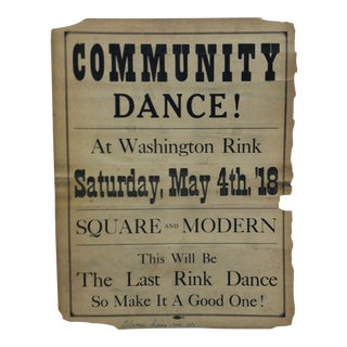 "1918 Vintage ""Washington Rink"" Community Dance Sign For Sale"