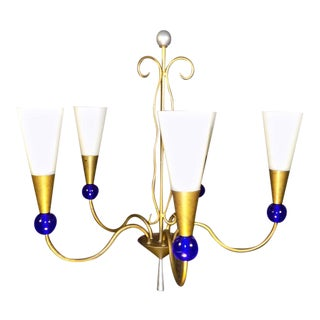 George Kovacs Post Modern Chadelier With Vianne Glass Shades For Sale