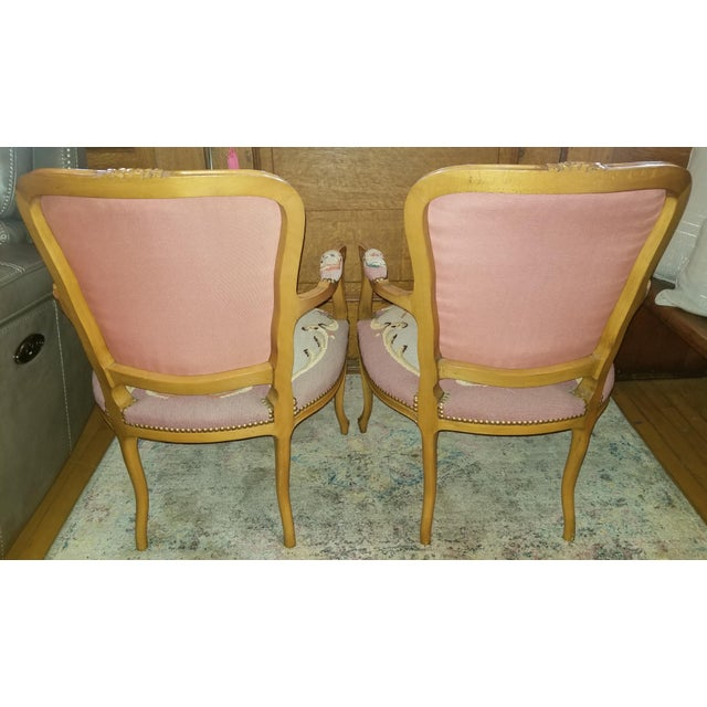 French Provincial 1960s Vintage Needlepoint French Chairs - a Pair For Sale - Image 3 of 11