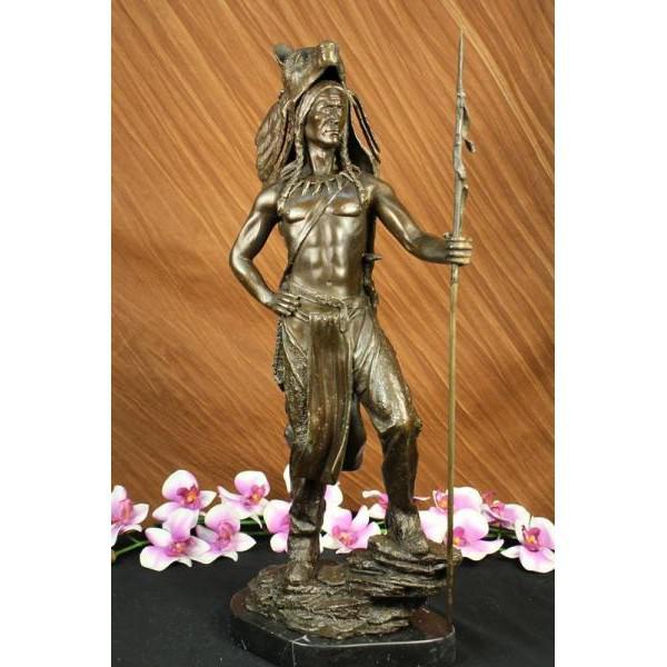 American Indian Wolf Bronze Art Deco Sculpture - Image 2 of 7