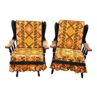 1920s Antique Wood Framed Chairs- A Pair For Sale