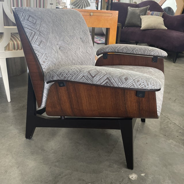 1970s Gray Upholstered Mid-Century Style Arm Chair For Sale - Image 4 of 12