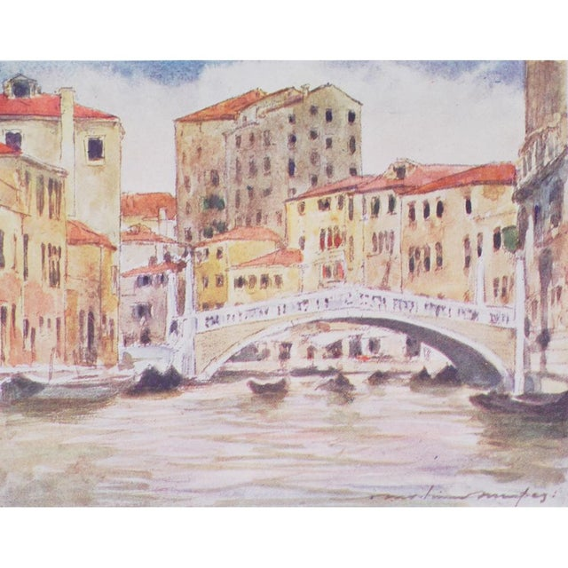 Set of four original period offset lithographs of Venice by Mortimer Menpes (1855-1938). Printed in London, 1912. Gold...