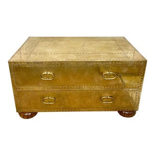 Spanish Sarreid Brass Clad Chest of Drawers For Sale