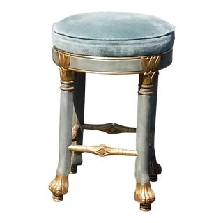 Vintage French Provincial Rococo Blue Velvet Swivel Bar Stool