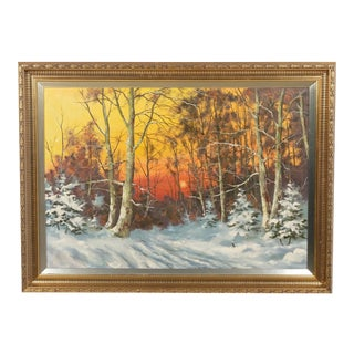 Snowy Winter Forest at Sunset Landscape For Sale