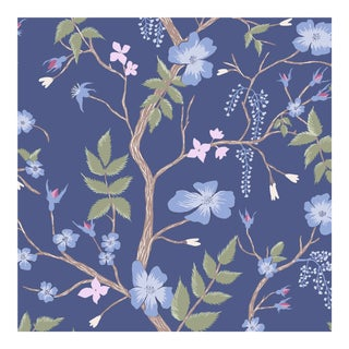 Lewis & Wood Cinda's Roses Blue Yonder Botanic Wallpaper Sample For Sale