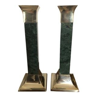 Mid Century Brass and Green Marble Candlesticks - a Pair For Sale