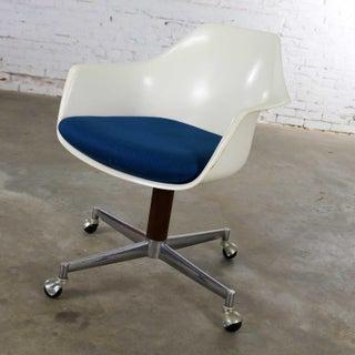 Mid Century Modern Burke Inc. Fiberglass Shell Office Desk Arm Chair Rolling Swivel Tilt Preview