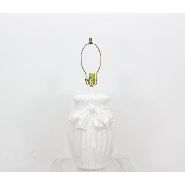 """Mid-Century plaster table lamp with ribbon motif in great vintage condition (Shade not included) Dimensions; 10""""Diameter x..."""