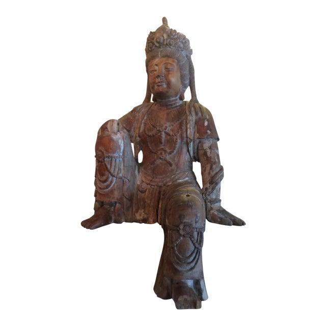 Carved Wood Bodhisattva For Sale