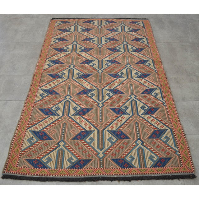 """Vintage Masterpiece Braided Rug. Hand Woven Small Area Rug - 3' 7"""" X 6' For Sale - Image 4 of 10"""