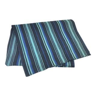 African Blue/Aqua Striped Baule Mud Cloth Throw For Sale