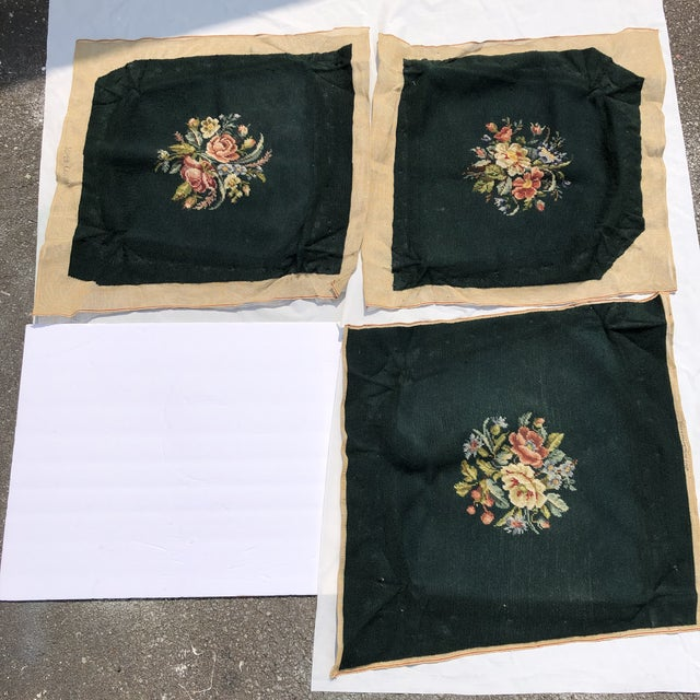 1980s Victorian Style Floral Handmade Needlepoint Seat Covers S/3 For Sale - Image 5 of 5