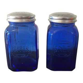 1950s Vintage Cobalt Blue Glass Large Salt & Pepper Shakers - a Pair