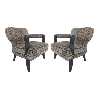 Larry Laszlo for Directional Furniture Sculptural Leopard Club Chairs - a Pair For Sale