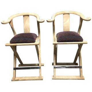 Pair of Goatskin-Parchment Yoke Bar Stools by Enrique Garcel For Sale