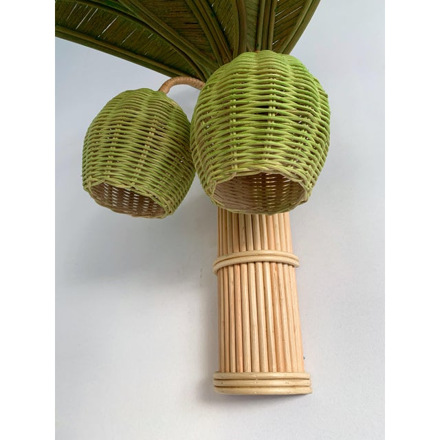 Wood Pair of Rattan Palm Tree Sconces. France, 1980s For Sale - Image 7 of 11