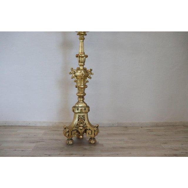 Louis XIV 19th Century Italian Baroque Louis XIV Style Giltwood Torchère or Floor Lamp For Sale - Image 3 of 13